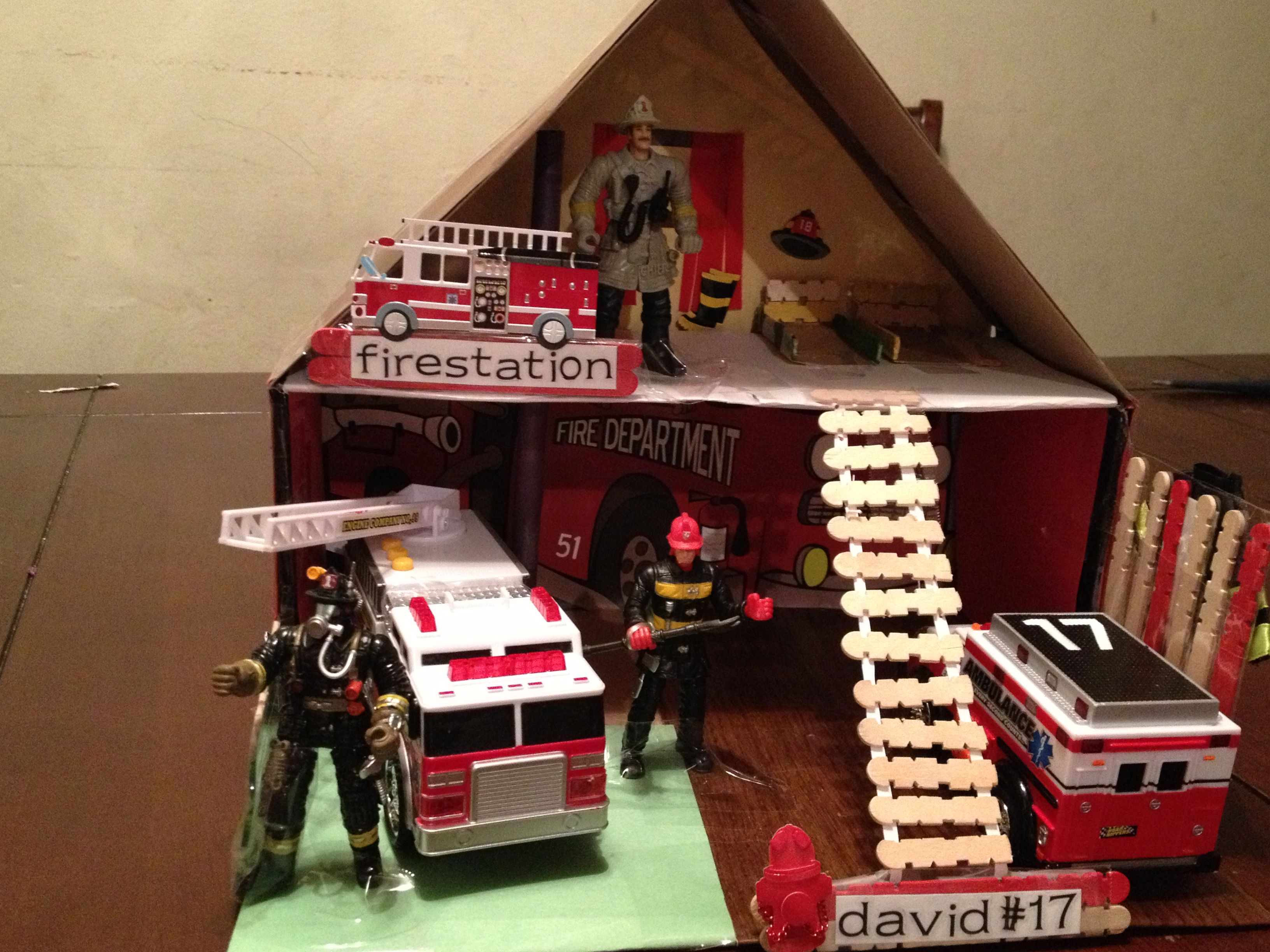 Shoe Box Dollhouse Craft For Kids: Shoe Box Project Fire Department