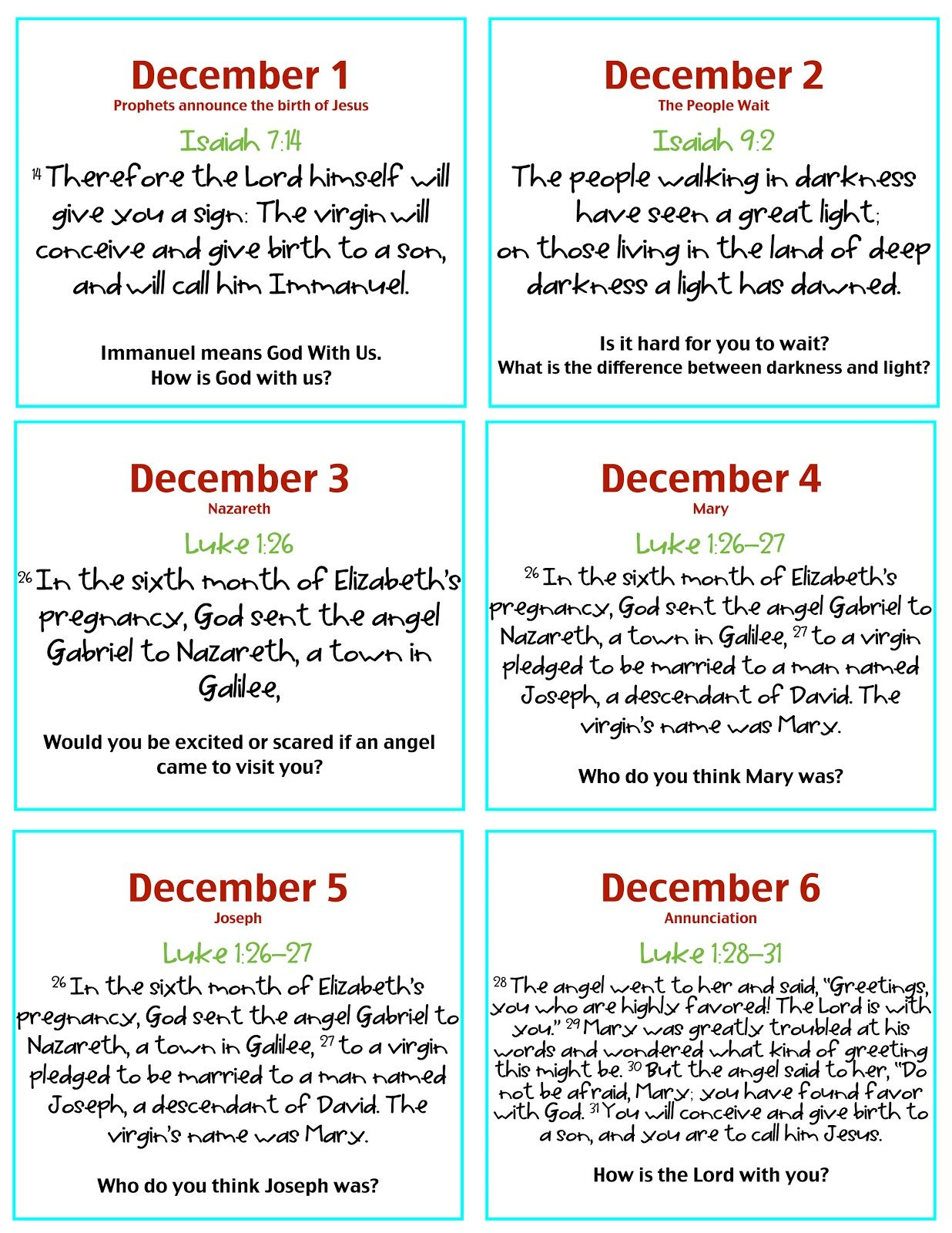 Verses Amp Discussion Questions For Advent Calendar