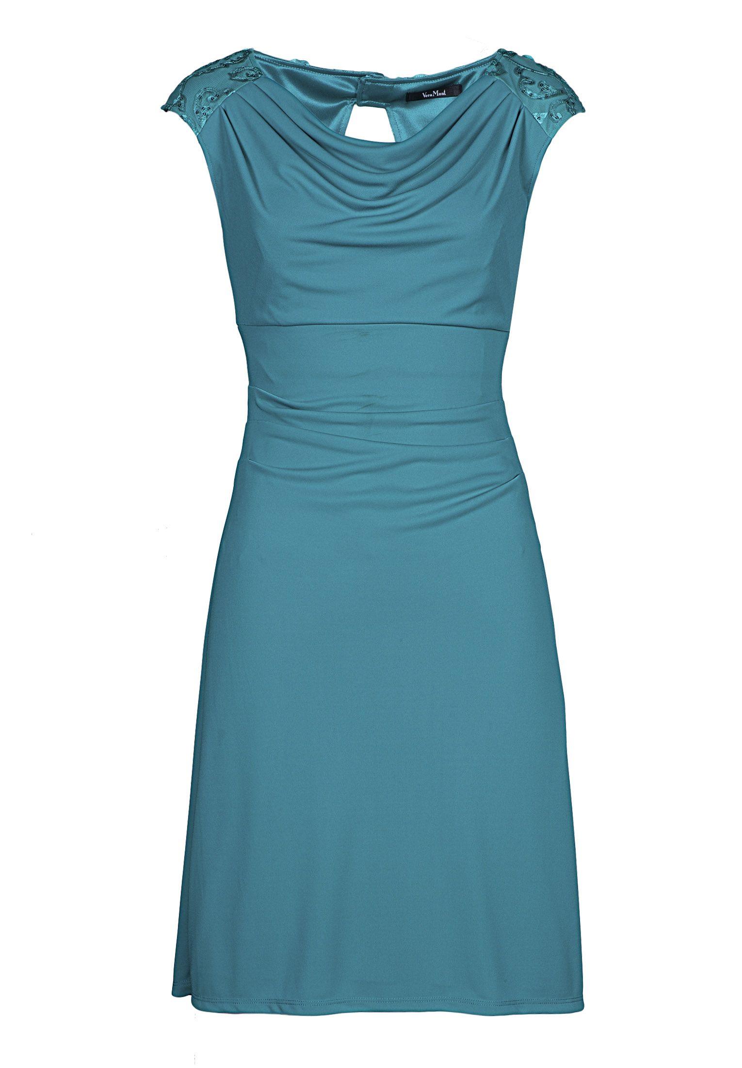 Vera mont chiffonkleid blau