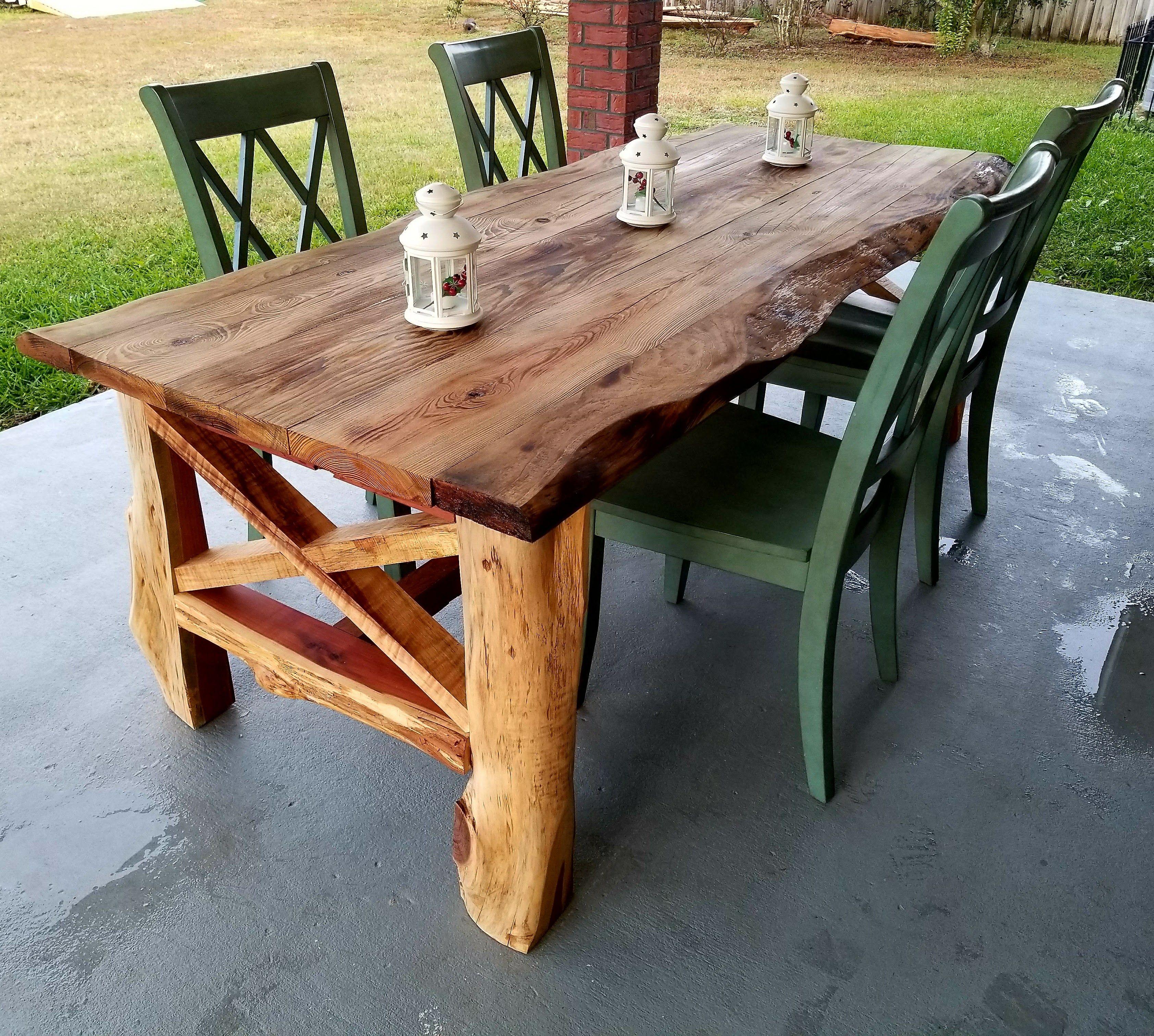 Pine Hickory And Cedar Live Edge Table Rustic Farmhouse Table