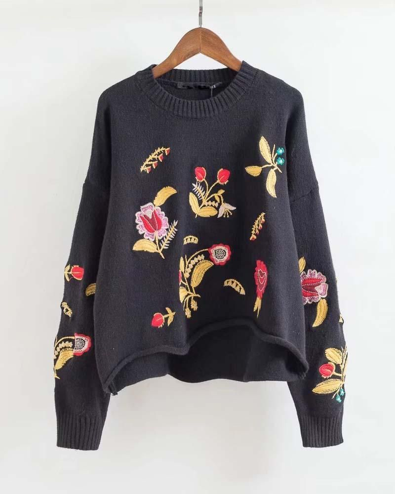 89d825ad8a2 Floral Embroidered High Low Crop Jumper