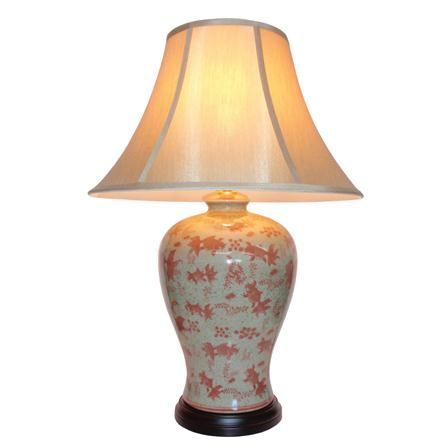 Oriental illuminations chinese goldfish vase table lamp