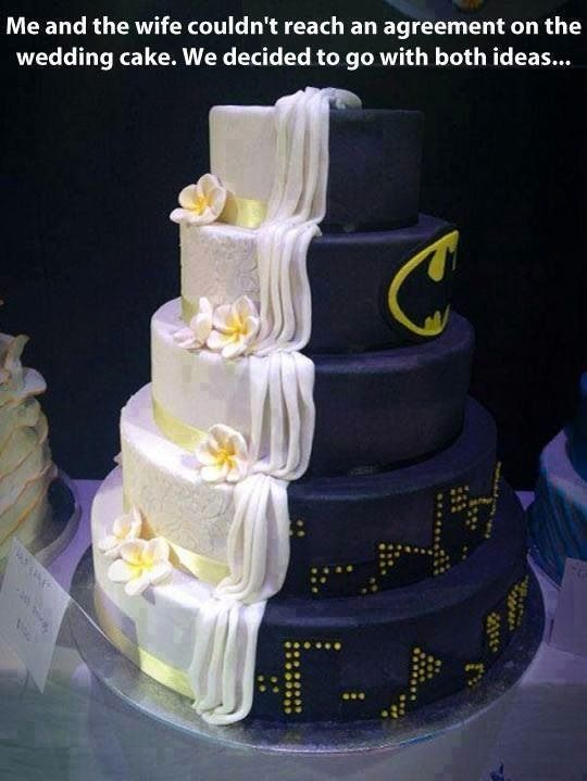 The Perfect Compromise....it perfectly represents both halves of the couple; and second, Batman is a secret identity, so duh, of course one half of the cake would look all perfect and traditional.