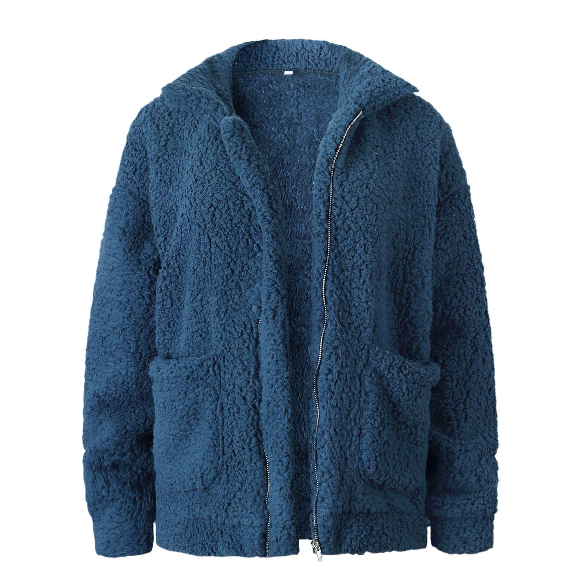 Plus Size Womens Coat Casual Soft Woolen Fleece Jumper Fluffy Ladies Cardigan!