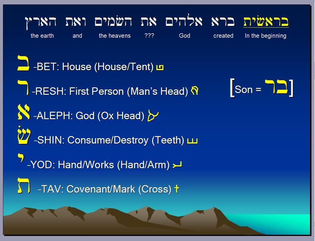 Hebrew words  sc 1 st  Pinterest & The very First word of the bible prophesied about Godu0027s salvation ...