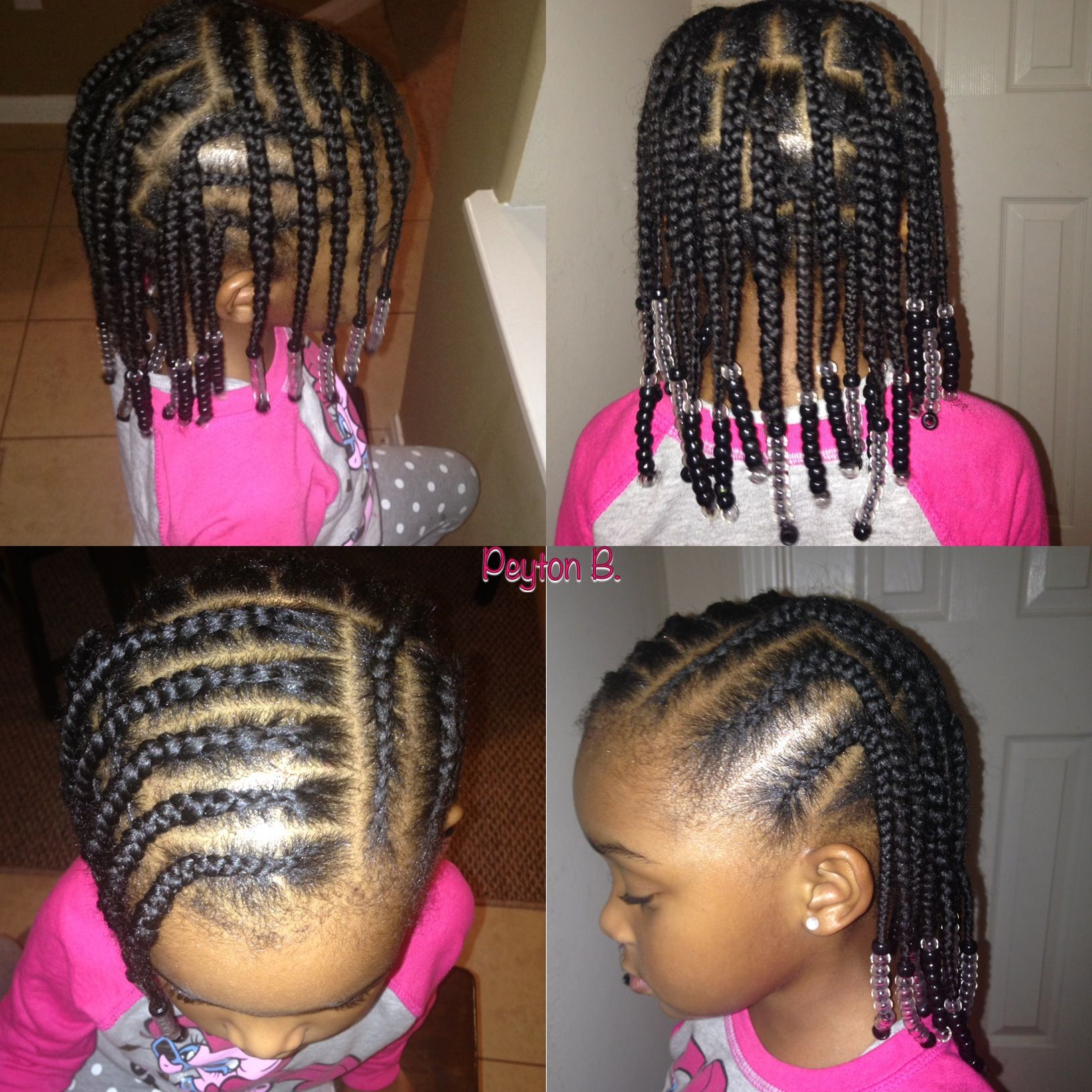 Box braids, cornrows, beads, natural hairstyles for kids | Little ...