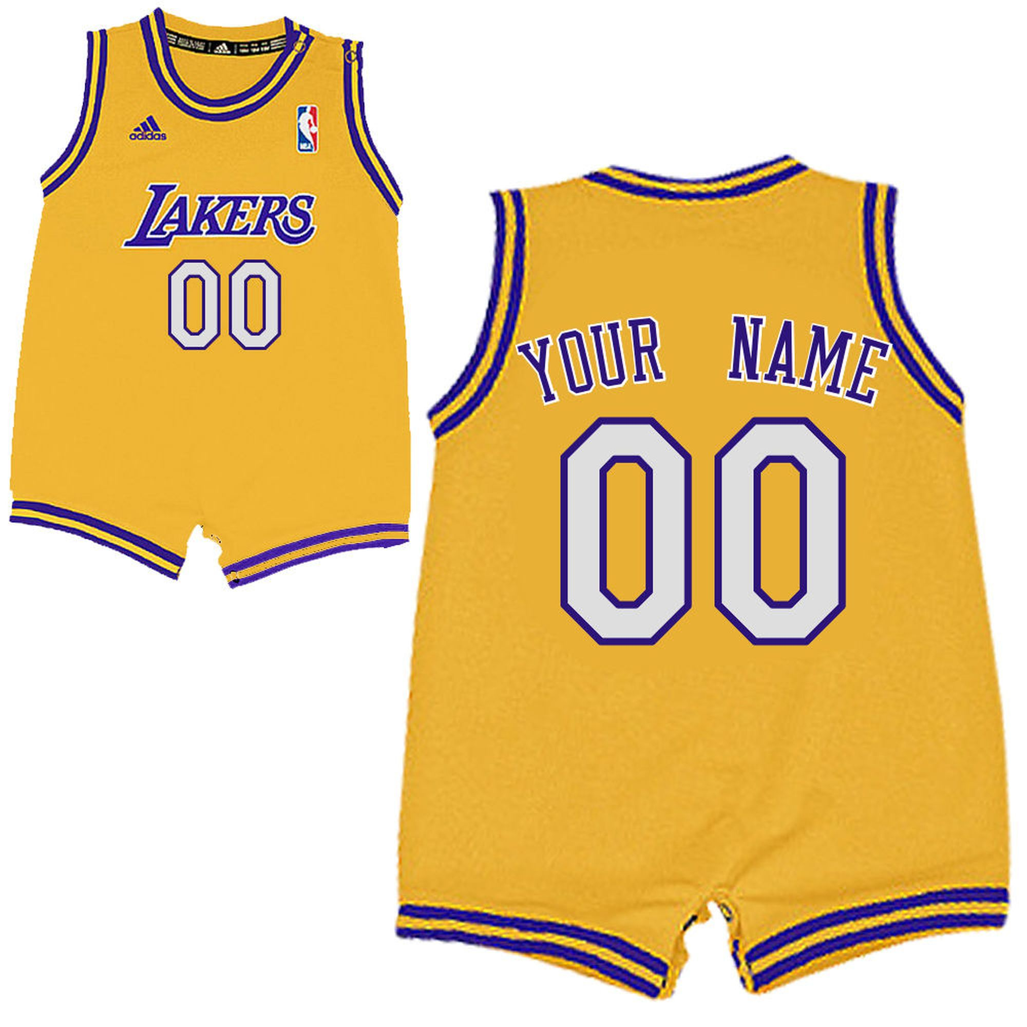 Adidas La Lakers Infant Custom Replica Home Jersey Basketball Jersey Outfit Lakers Outfit Baby Boy Basketball