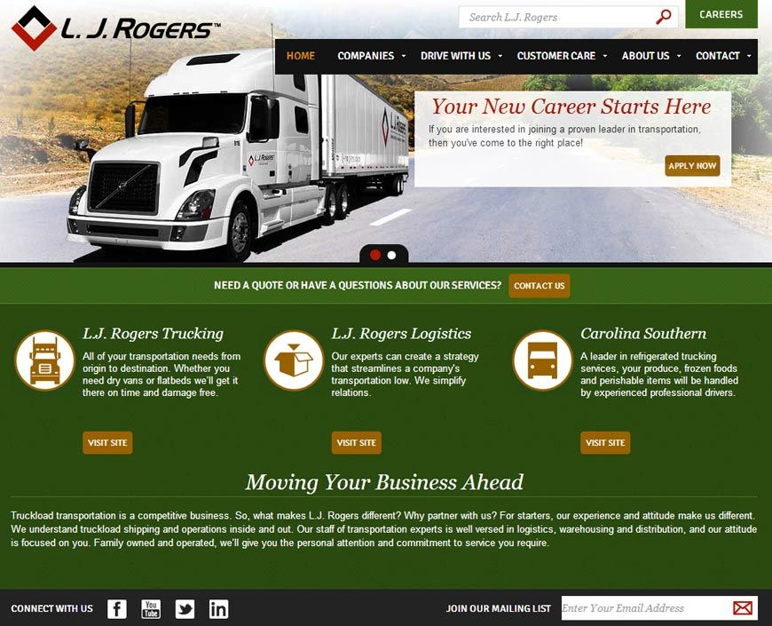Web Design Content Management Lj Rogers Trucking In Chapel Hill Bp Studios Raleigh Content Management Web Design Custom Web Design