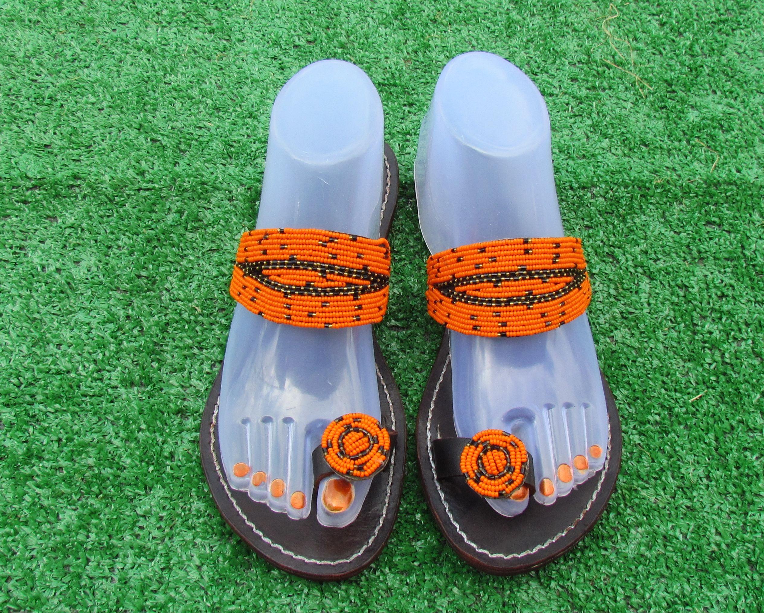 3d4bc3da9536c Kenyan beaded Sandal | Handbeaded Leather Sandals in 2019 | Sandals ...