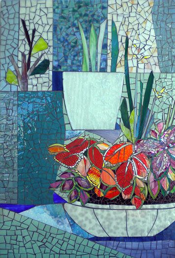 Potted Plant Mosaic By Judith Scallon The Crocus Leaves Look