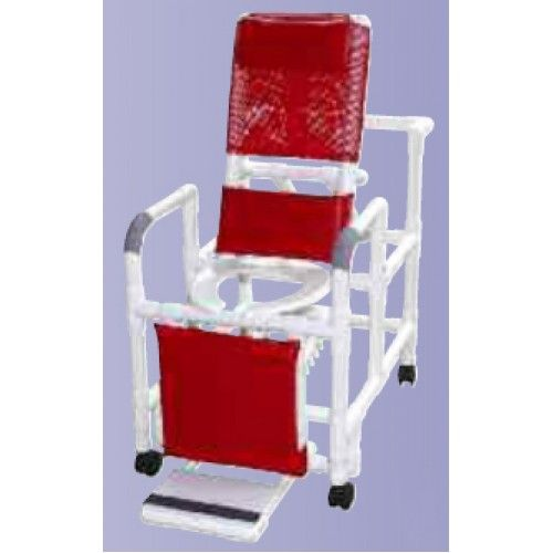 Reclining Shower Chair with Dlx Elongated Commode Seat - PVC -   Reclining shower chair with deluxe elongated open front commode seat, footrest, padded elevated leg extension, and lumbar support.