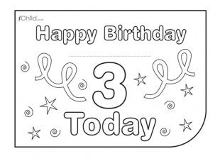 image regarding Printable Children's Birthday Cards called Childrens Birthday Card - for a 3rd birthday! Check out iChild