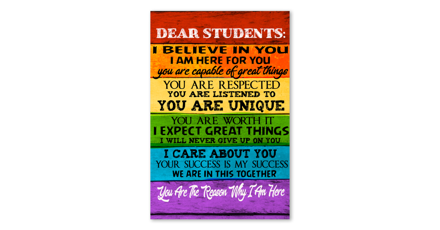 Dear Students I Believe In You Poster Canvas Tot Bag Pillow Cover Dear Students Teachers Day Special Student