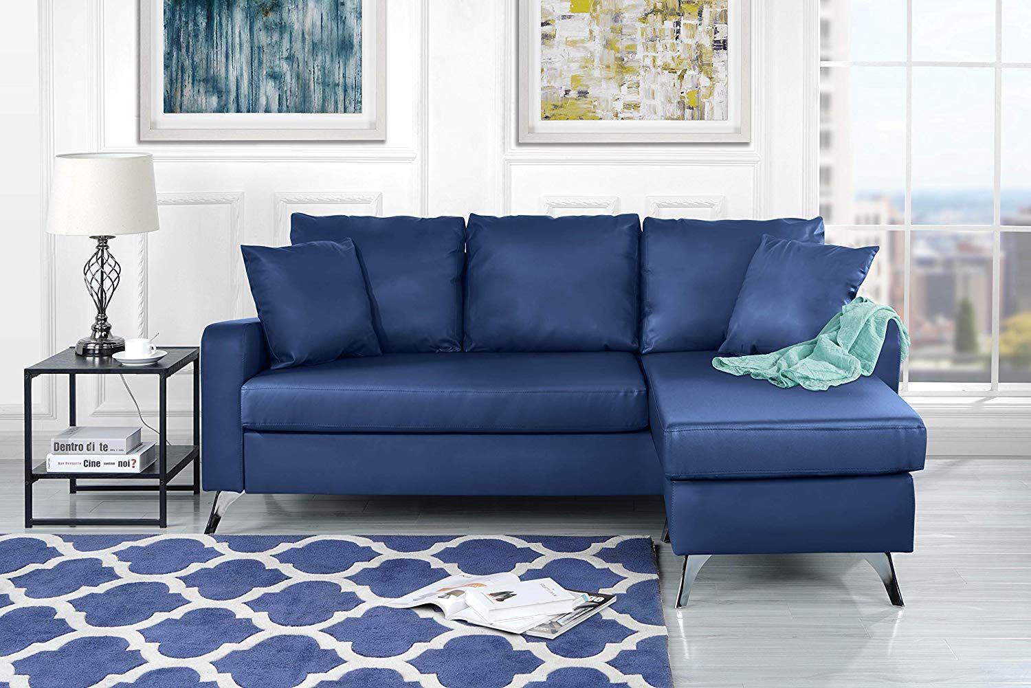 Divano Roma Furniture Bonded Leather Sectional Sofa Small E Configurable Couch Blue Kitchen Dining