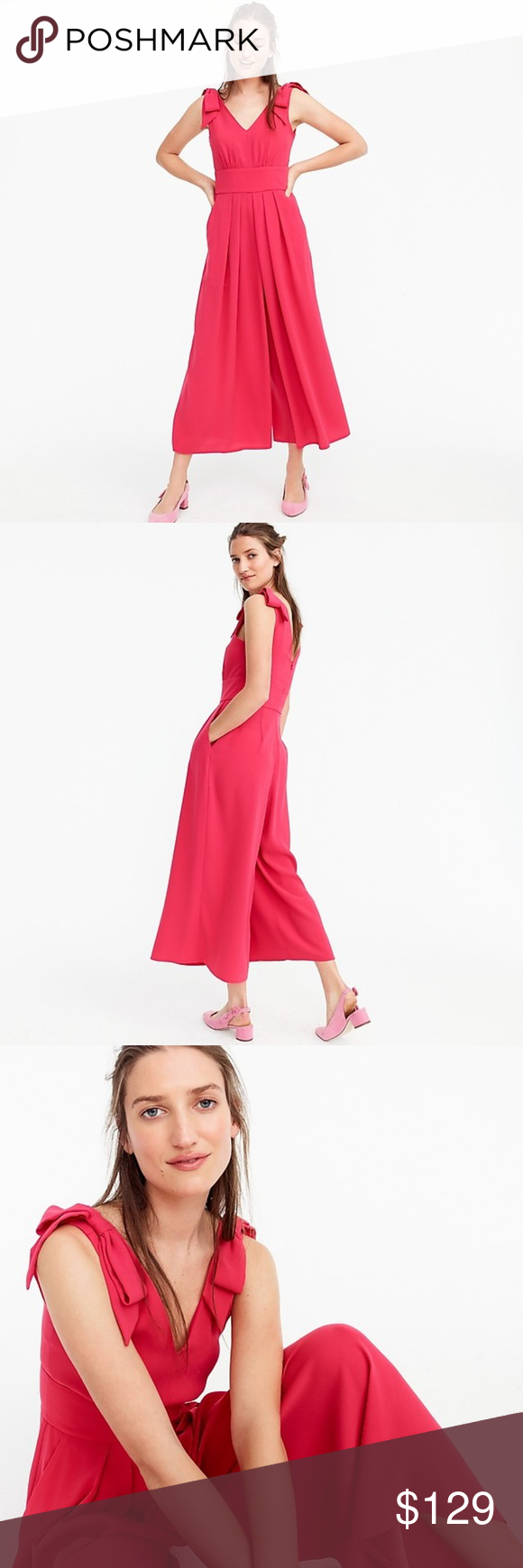 af2979b1fbf NWT Jcrew pink jumpsuit pocket bow size 4 Sold out everywhere! Don t miss  it! Triacetate poly. Machine wash. Item H6297. J. Crew Pants Jumpsuits    Rompers