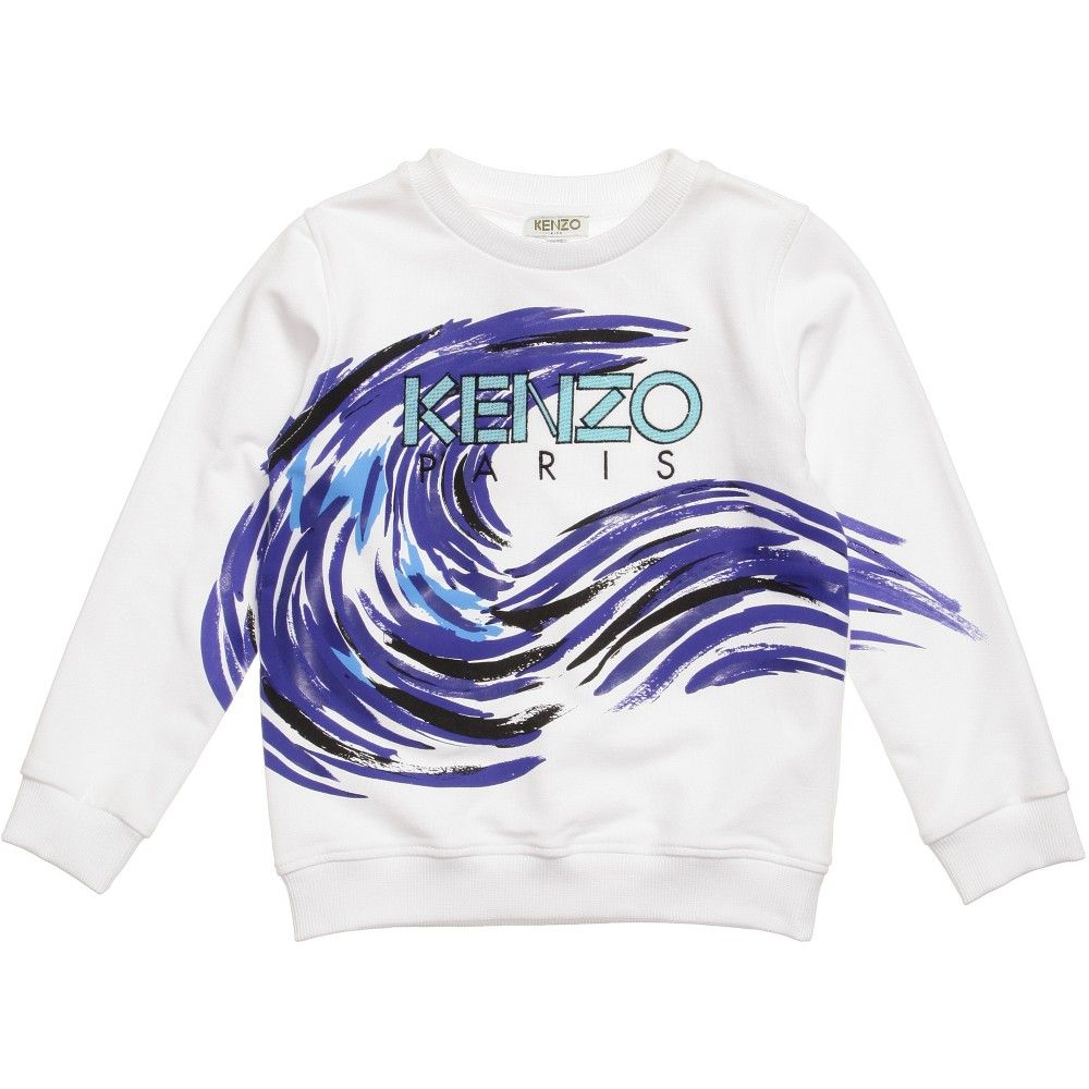 8301a03672fa Kenzo Boys White Wave Print Sweater at Childrensalon.com