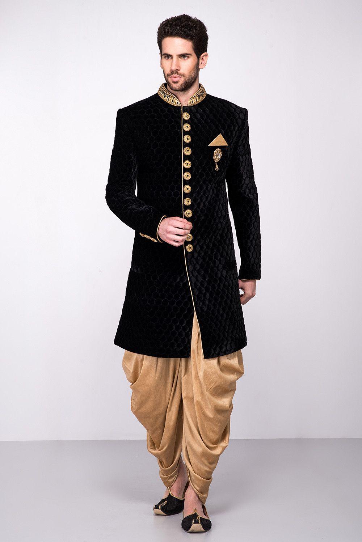 MFS Black Velvet Textured Sherwani With Golden Peshawari