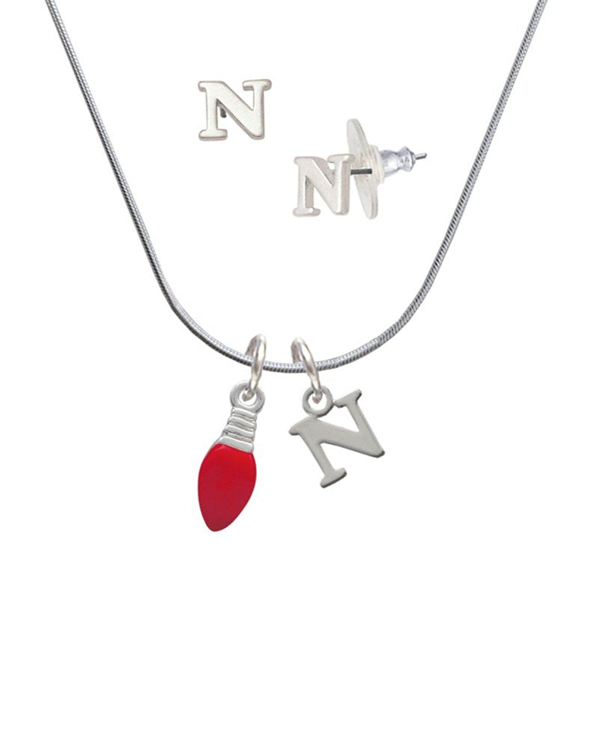Silvertone red christmas light n initial charm necklace and stud