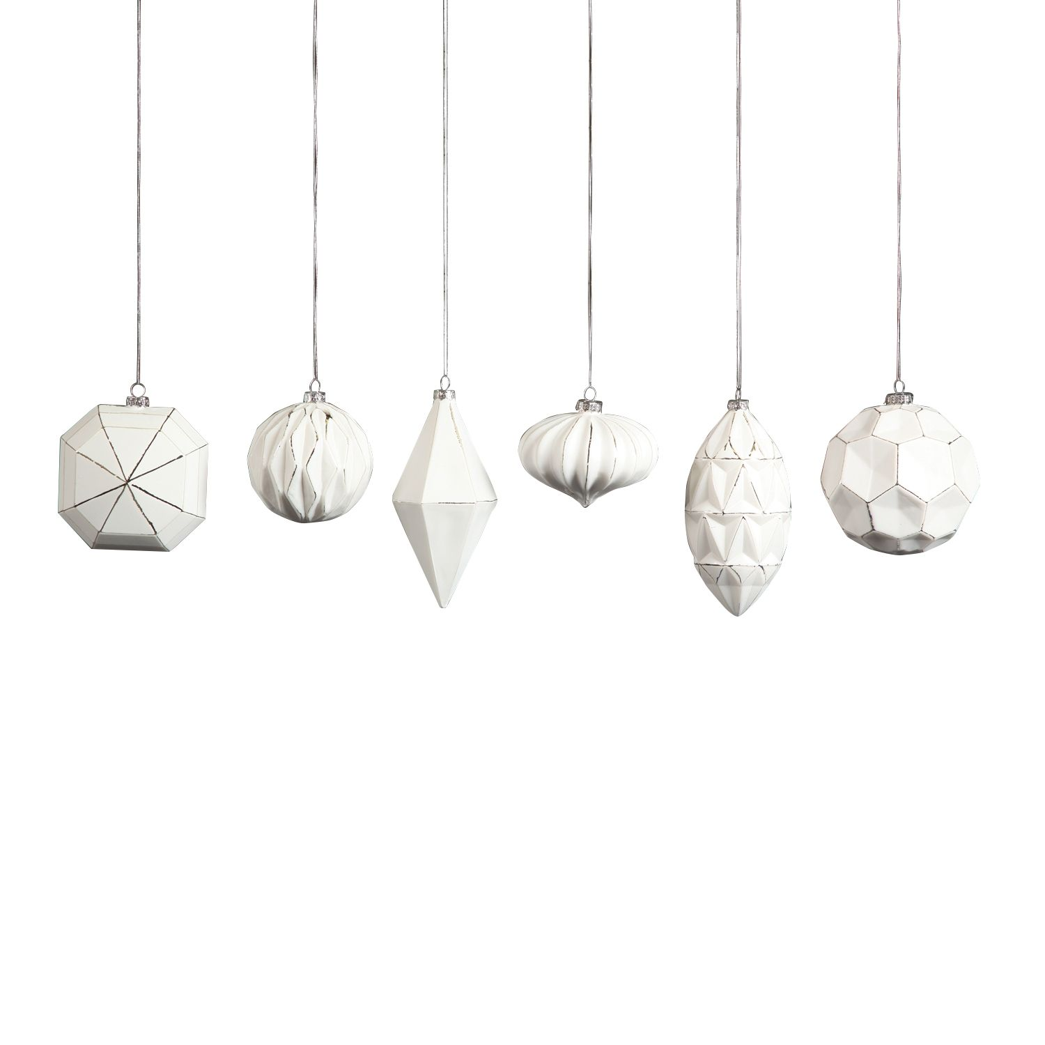 White and Silver Geo Glass Ornaments by HomArt - Seven Colonial