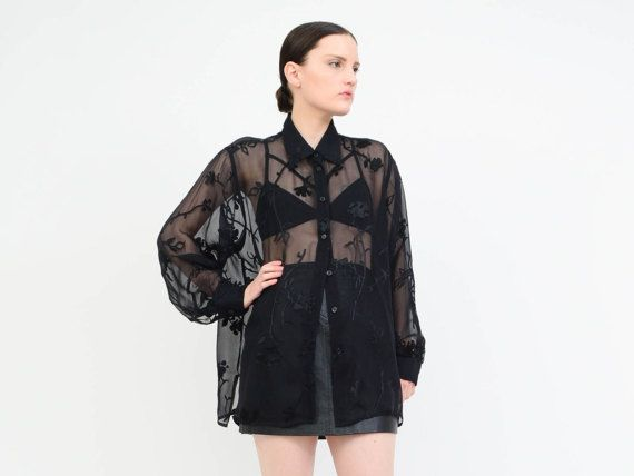 Vintage 90s Black Silk Sheer Blouse Goth Burnout Velvet Top 90s