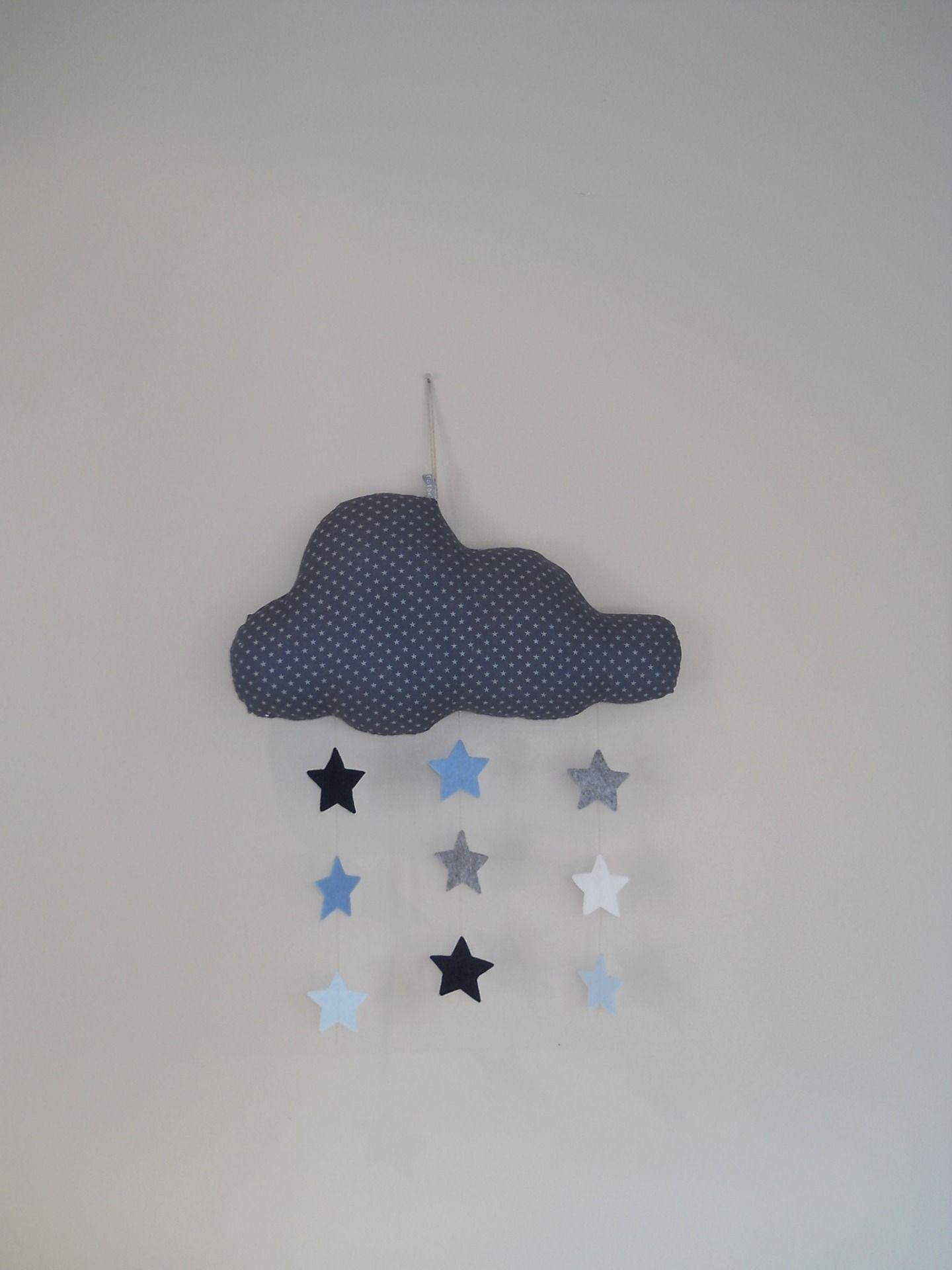 mobile nuage et sa suspension d étoiles bleu gris Décoration