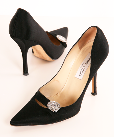 JIMMY CHOO HEELS  Probably a better choice for the green dress, or maybe the navy one.  Or anything really...