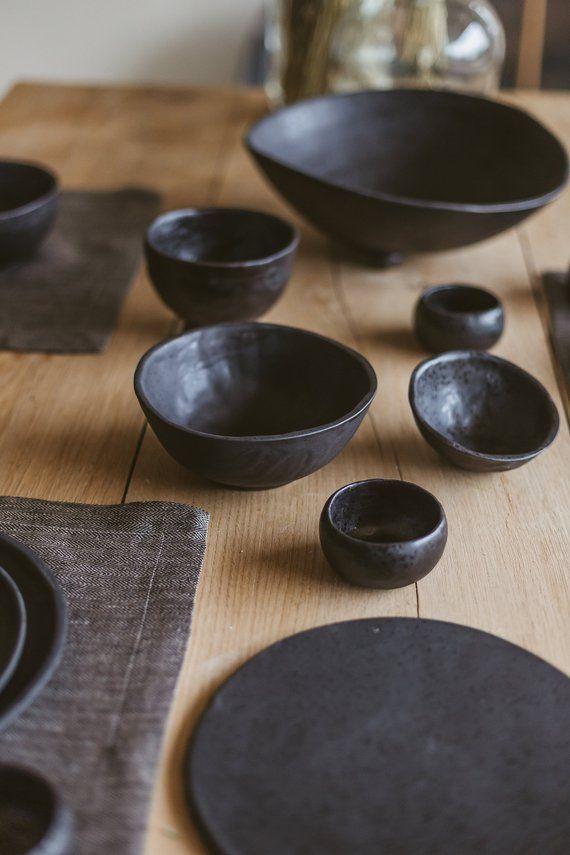 Modern Black Dinnerware Set Ceramic Dishes For 1 Person Etsy Ceramic Dinnerware Set Ceramic Dishes Ceramic Dinnerware