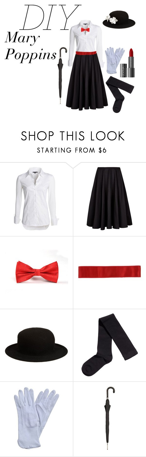 """Mary Poppins Halloween Costume"" by lizajayne ❤ liked on Polyvore featuring NIC+ZOE, Ted Baker, Dolce&Gabbana, Comme des Garçons, H&M, Pasotti Ombrelli and Halloween"