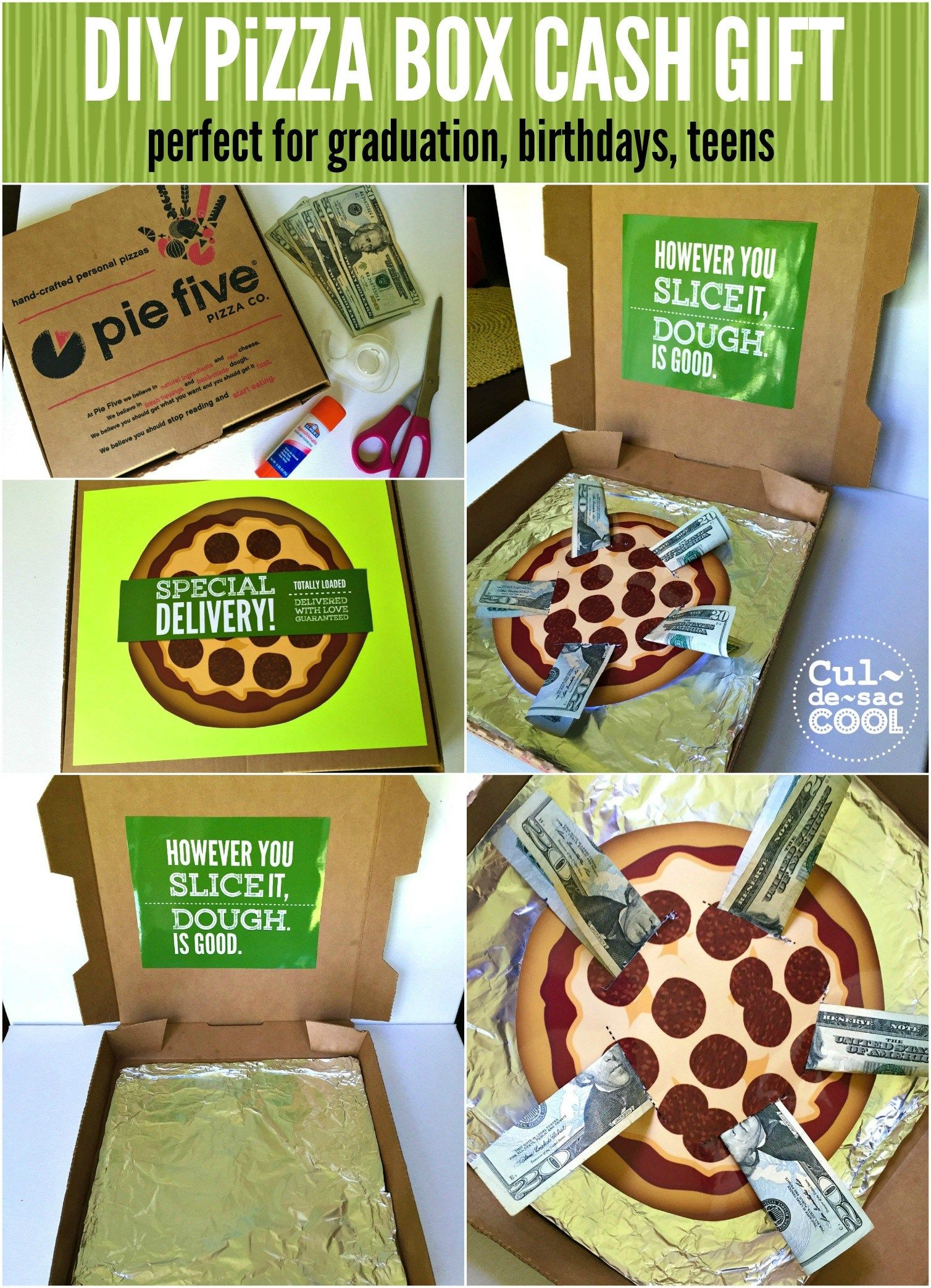 Diy pizza box cash gift with free printables pizza gifts