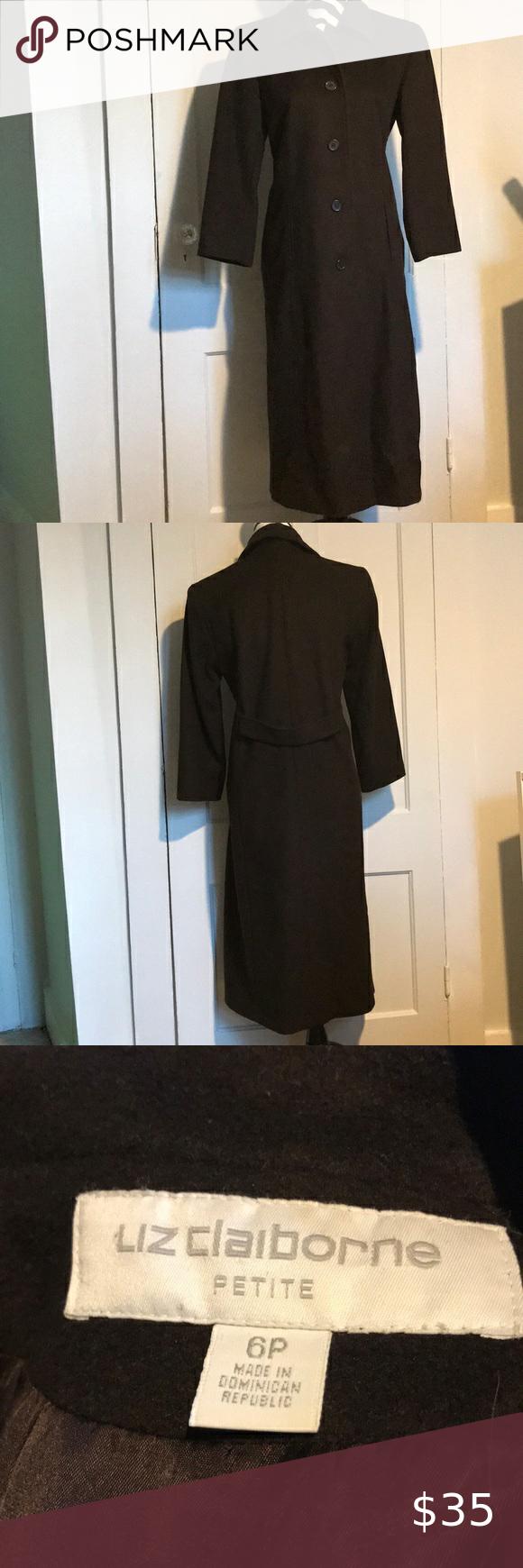 Liz Claiborne Dress Coat Size 6p Brown Coat Dress Liz Claiborne Dresses Heavy Dresses [ 1740 x 580 Pixel ]