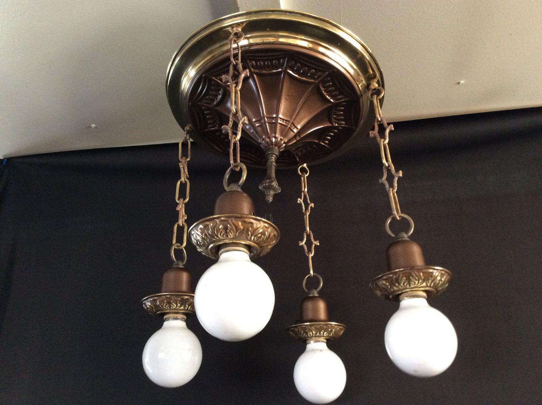 Antique art deco brass ceiling fixture 4 hanging lights restored and antique art deco brass ceiling fixture 4 hanging lights restored and rewired 1920s arubaitofo Gallery