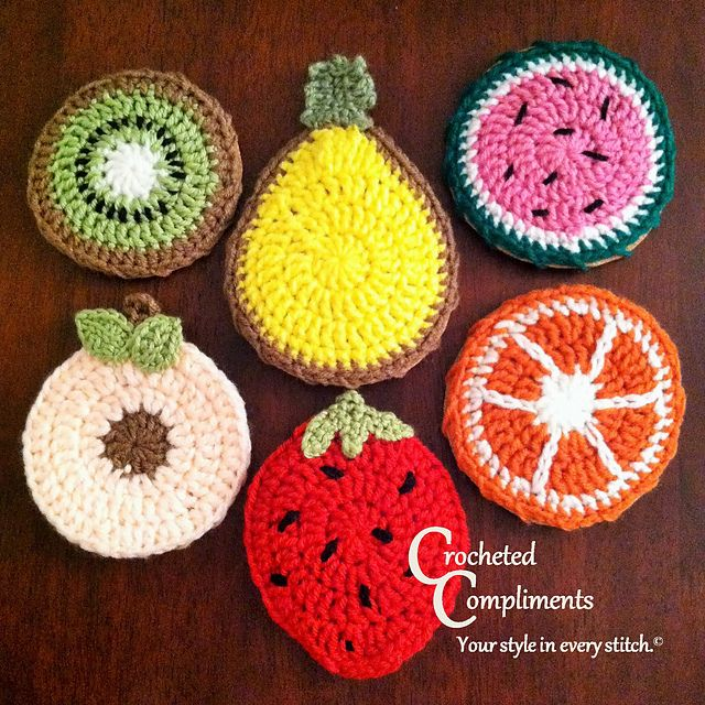 Summer Fruit Coasters pattern by Crocheted Compliments | Tejidos en ...
