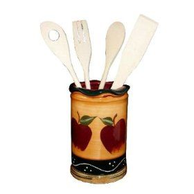 Kitchen Utensil Holder With Tools Apple Decor