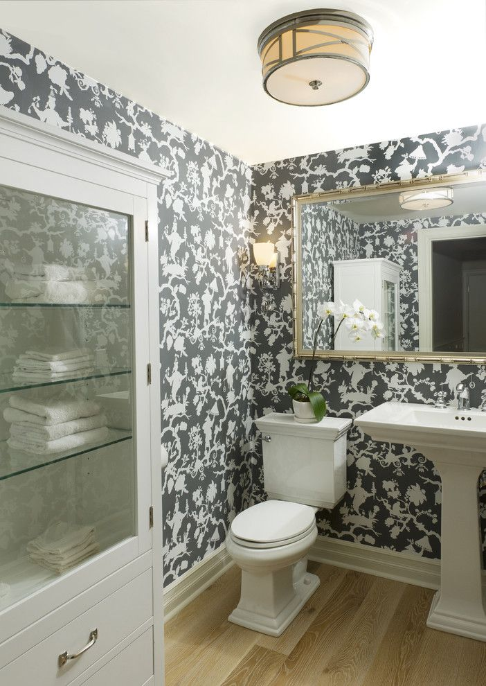 kohler memoirs pedestal sink powder room traditional with bathroom mirror floormount toilet glass front