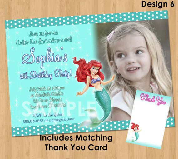 Ariel The Little Mermaid Invitation Thank You Note Printable