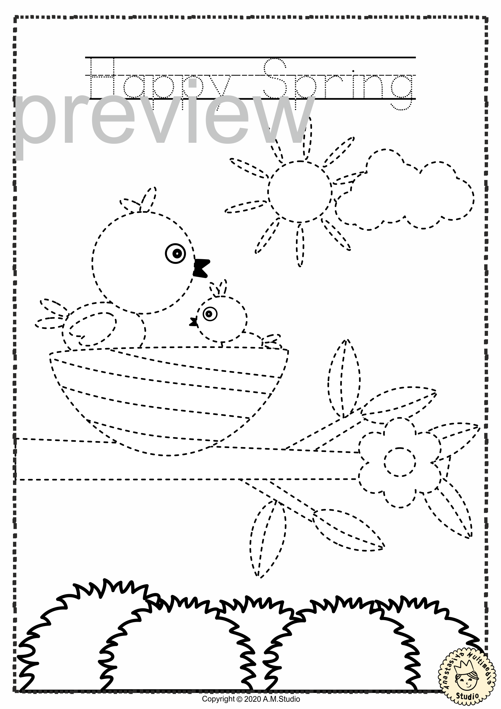 Spring Trace And Color Pages Fine Motor Skills Pre