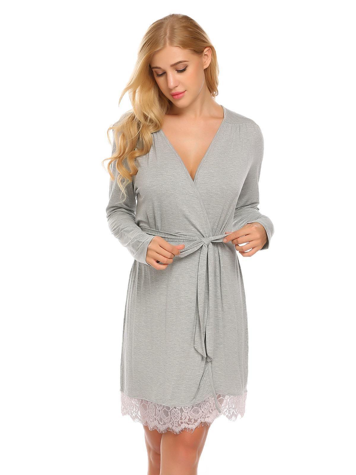 94ec3c840a Gray Women Lace-trimmed Long Sleeve Sleepwear Robe with Belt ...