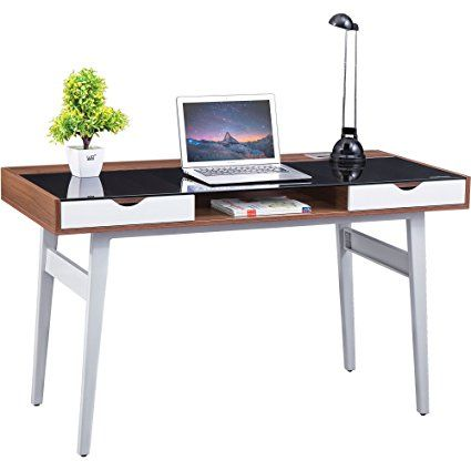 Retro Glass Desk with Drawers Piranha Sabalo PC 22w Furniture for Home Office