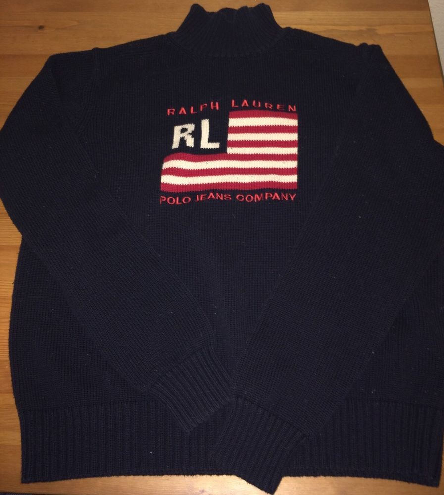Ralph Lauren Signature Logo Sweater Misses Xl Navy Flag Original  #LaurenRalphLauren #HighNeck