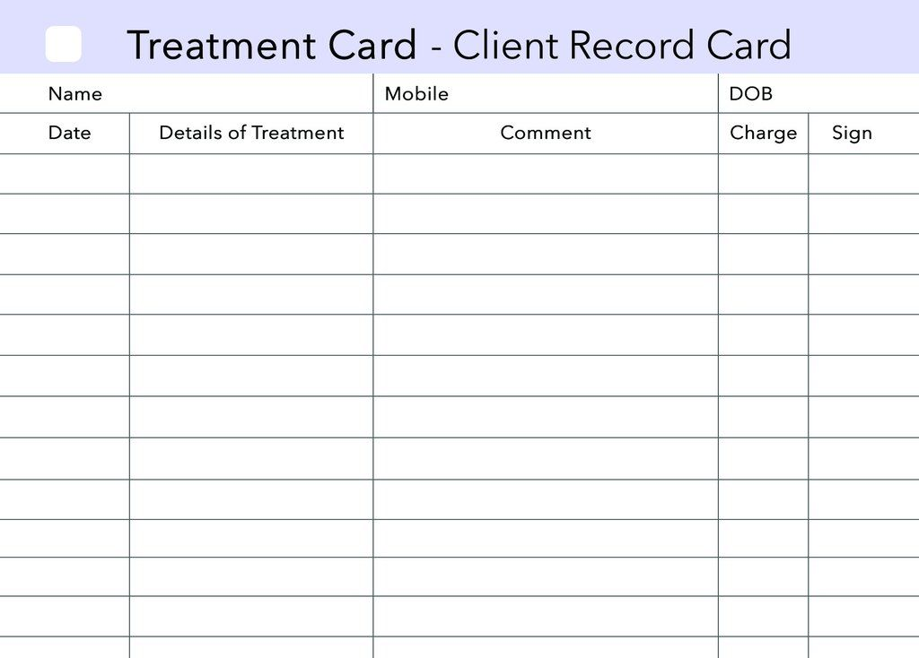 Additional Treatment Client Record Card clients record - sample appointment card template