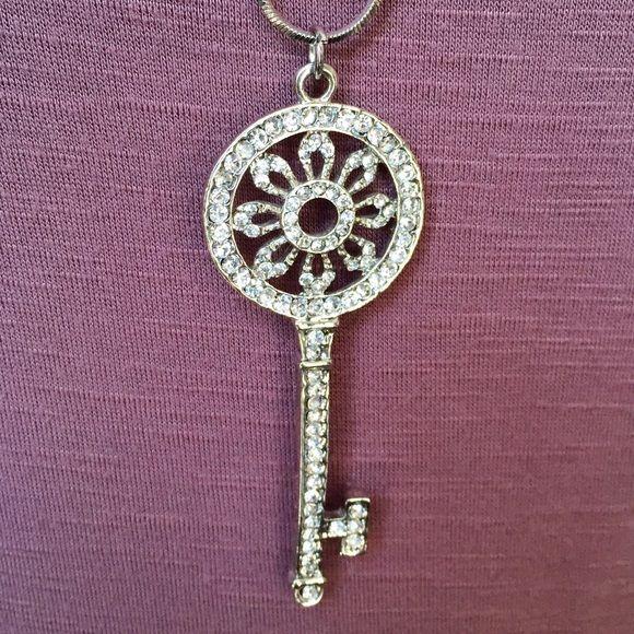 """Beautiful Jeweled Key Necklace! Wonderfully detailed jeweled key necklace with a 32"""" chain. Jewelry Necklaces"""