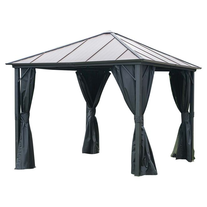 Abri de jardin avec toit en acier et moustiquaire, 10' x 10'