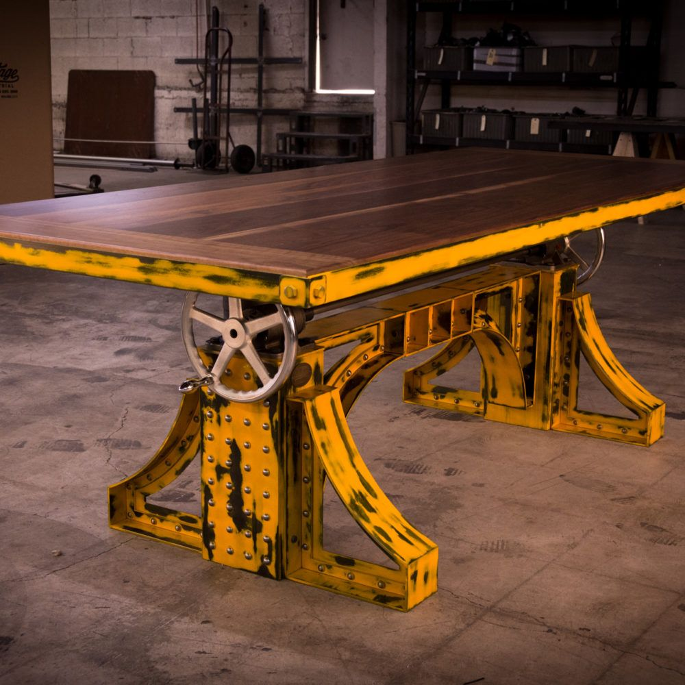 Bronx Crank Table Aged Yellow With Walnut Top – Model #BX36