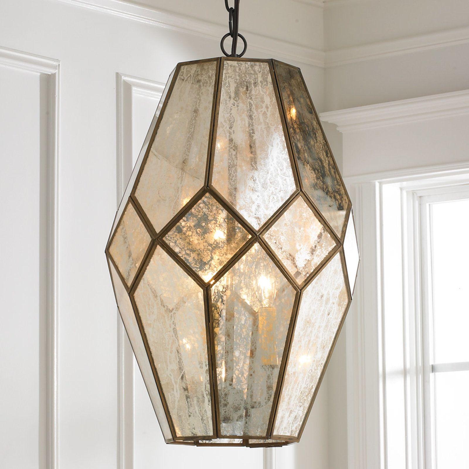 Young House Love Mercury Glass Prism Lantern Bronze Mercury Glass Pendant Light Glass Pendant Light Mercury Glass Lighting