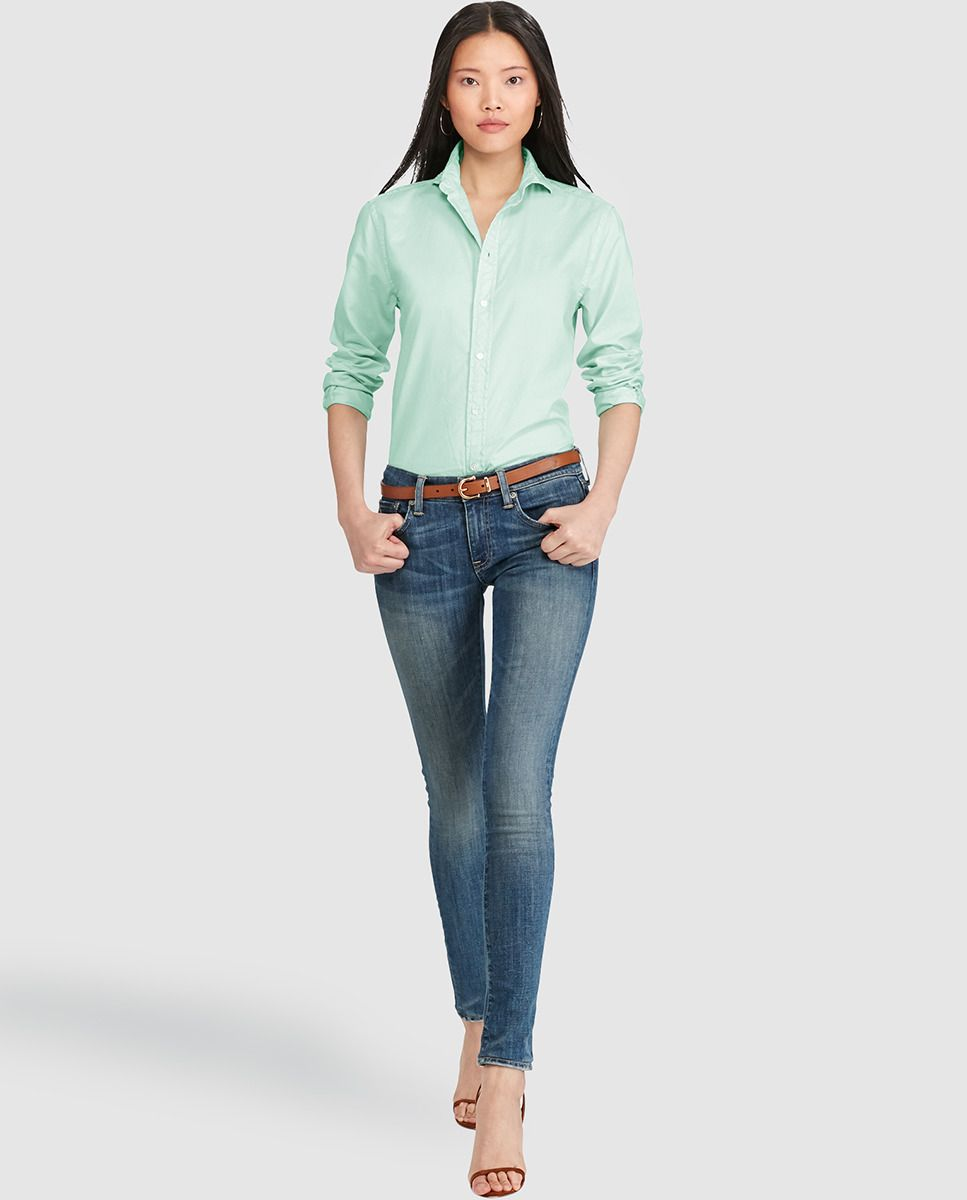 Polo Ralph Lauren Azul Polo Ralph Lauren Camisa Básica De Mujer En Color Verde Camisas Blusas Y Tops Bordado Ralph Lauren Clásico Casual Fashion Pants
