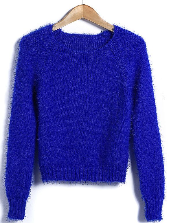 Royal Blue Long Sleeve Round Neck Short Mohair Sweater US$31.64 ...