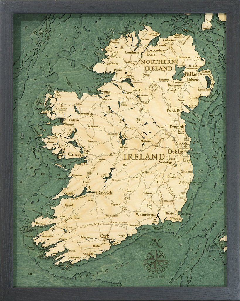 Ireland 3 D Nautical Wood Chart Small