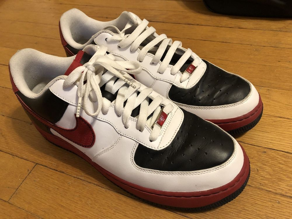 online store 790e1 c2068 NIKE Air Force 1 One 07 Men s Low White Red Black Leather Shoes New Size 12   fashion  clothing  shoes  accessories  mensshoes  athleticshoes (ebay link)