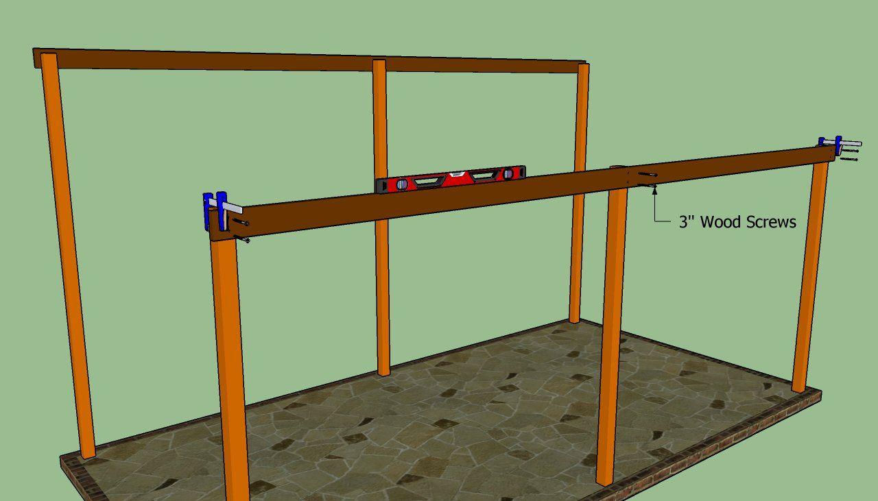 Attaching The Support Braces Lean To Carport Carport Plans Diy Carport