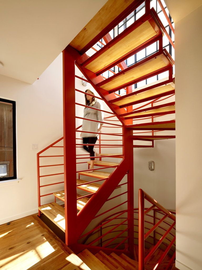 Best Steel Stair Painted Golden Gate Orange Fabricated By 400 x 300